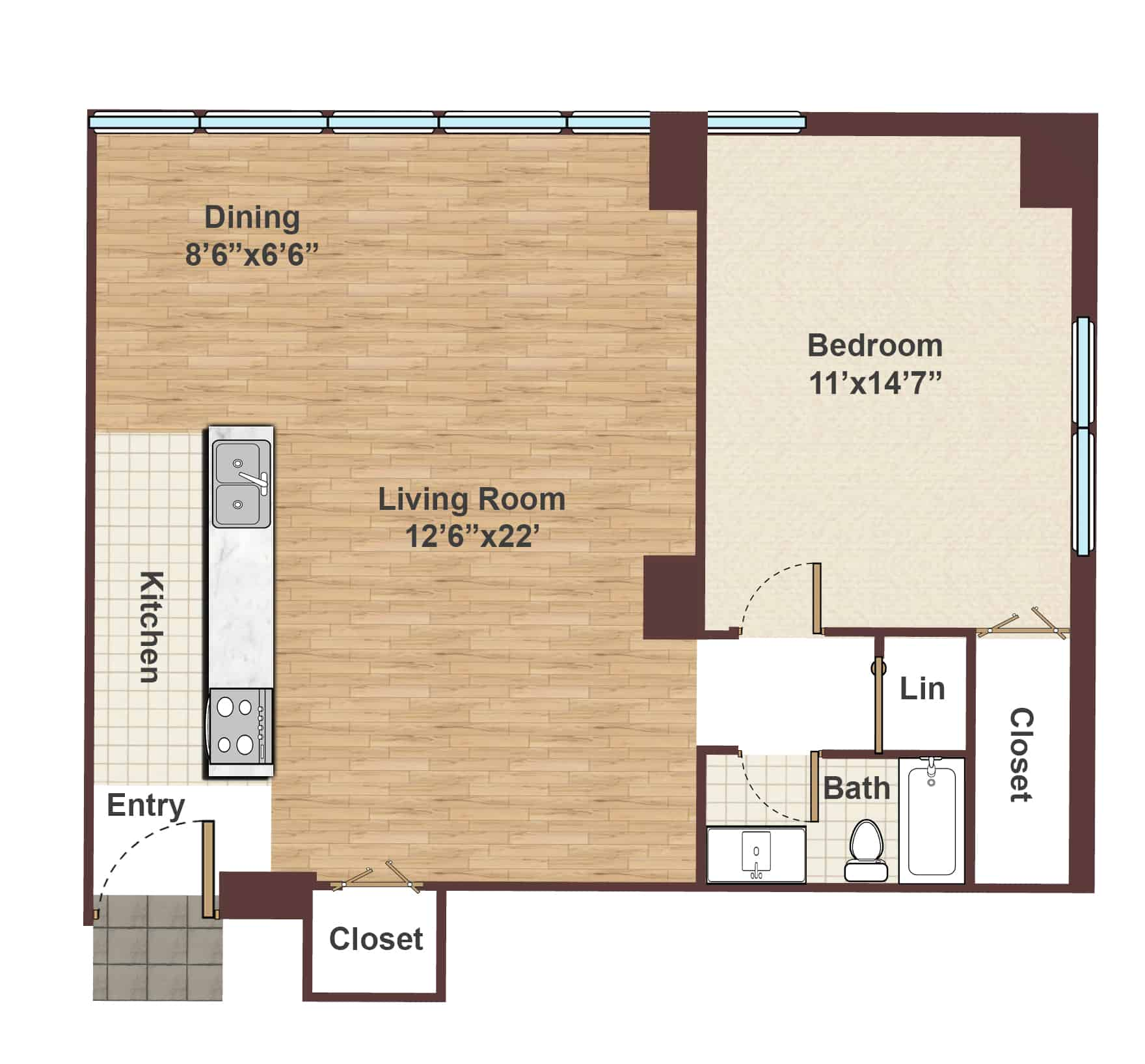 Apartments For Rent One Bedroom Part - 36: Apartment In Rittenhouse Square One Bedroom Floor Plan