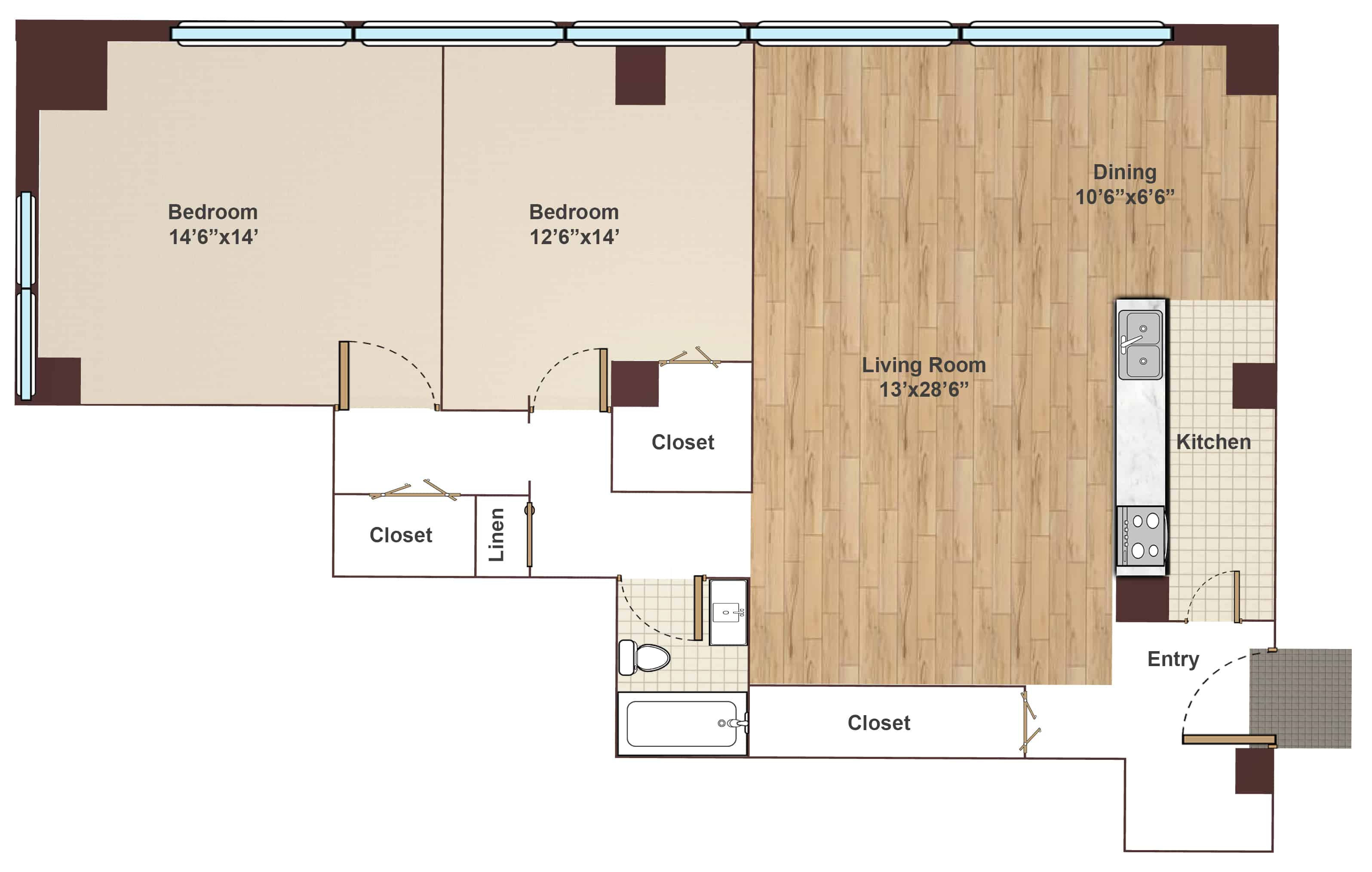 Apartments in Rittenhouse Square Two Bedroom Floor Plan