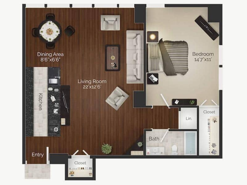 Picasso 1 bedroom 1 bathroom Rittenhouse Square apartment floor plan