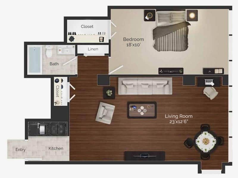 one bedroom apartment floor plan for Rittenhouse Square apartments in Philadelphia