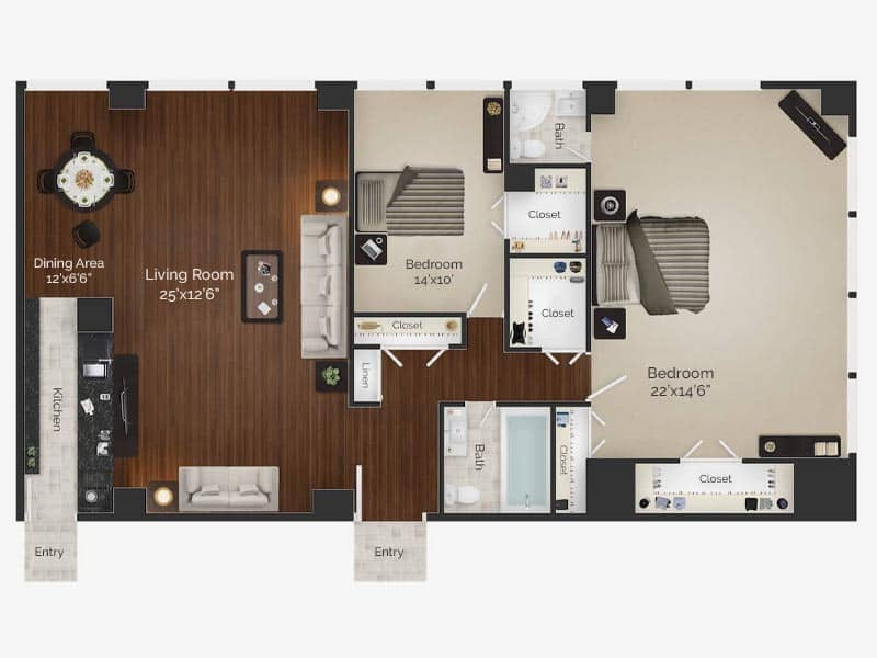 Rembrandt 2 bed 2 bath apartment floor plan at Rittenhouse Claridge in Philadelphia