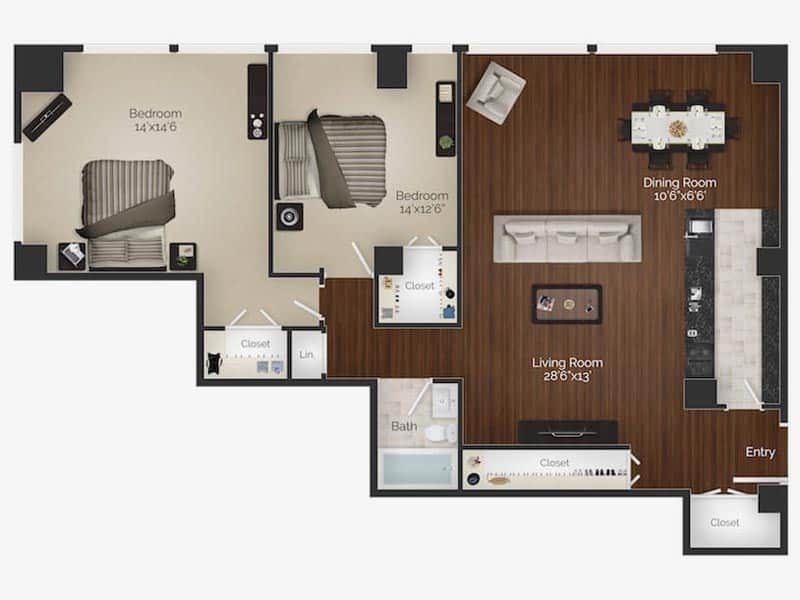 2 bedroom 2 bathroom Van Gogh apartment floor plan in Rittenhouse Square