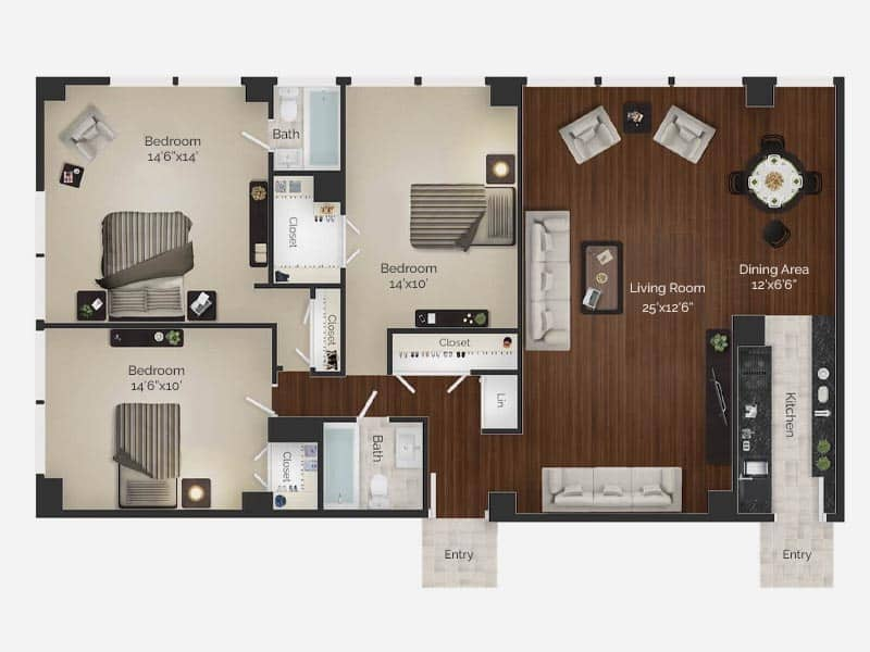 three bedroom apartment floor plan for Rittenhouse Square apartments in center city