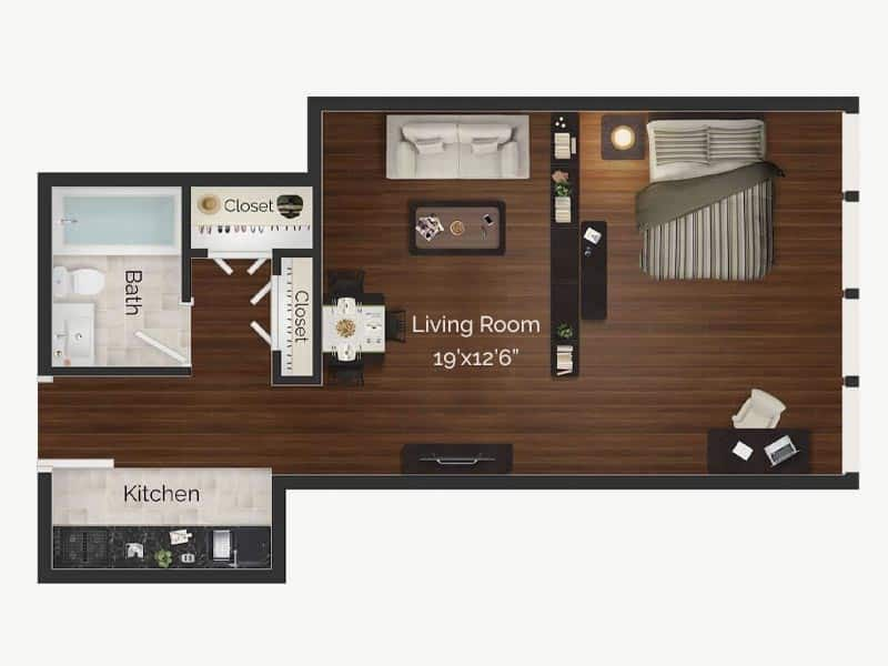Dali studio apartment floor plan at Rittenhouse Square apartments in Philadelphia