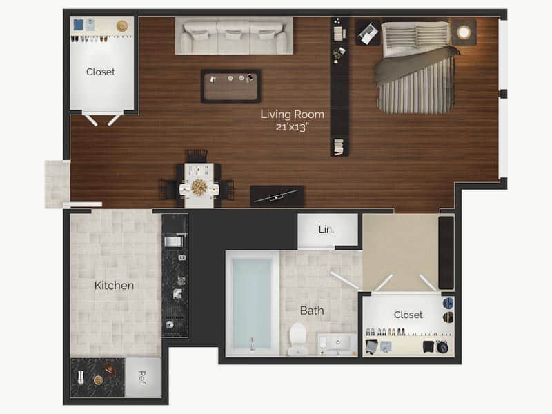 Rittenhouse Claridge Monet studio apartment floor plan in Center City Philadelphia