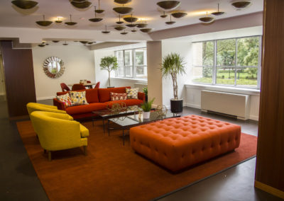 Furnished residents lounge at luxury apartments in Rittenhouse Square