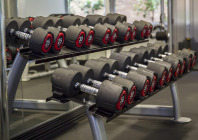 Fitness center with free weights in Center City Philadelphia apartments