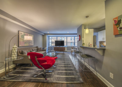 Furnished large open floor plan at Rittenhouse Claridge with city views and a breakfast bar