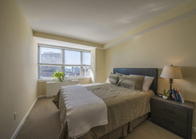 Furnished guest bedroom in Rittenhouse Square apartments