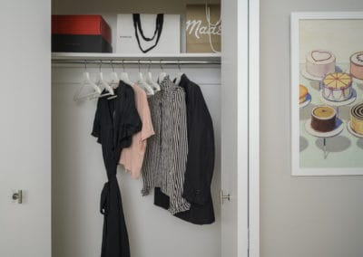 Large closet with clothes in Philadelphia, PA apartments