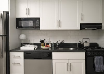 Kitchen in studio apartment at Rittenhouse Claridge